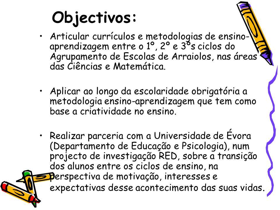 Objectivos: Articular currículos e metodologias de ensino- aprendizagem entre o 1º, 2º e 3ºs ciclos do Agrupamento de Escolas de Arraiolos, nas áreas
