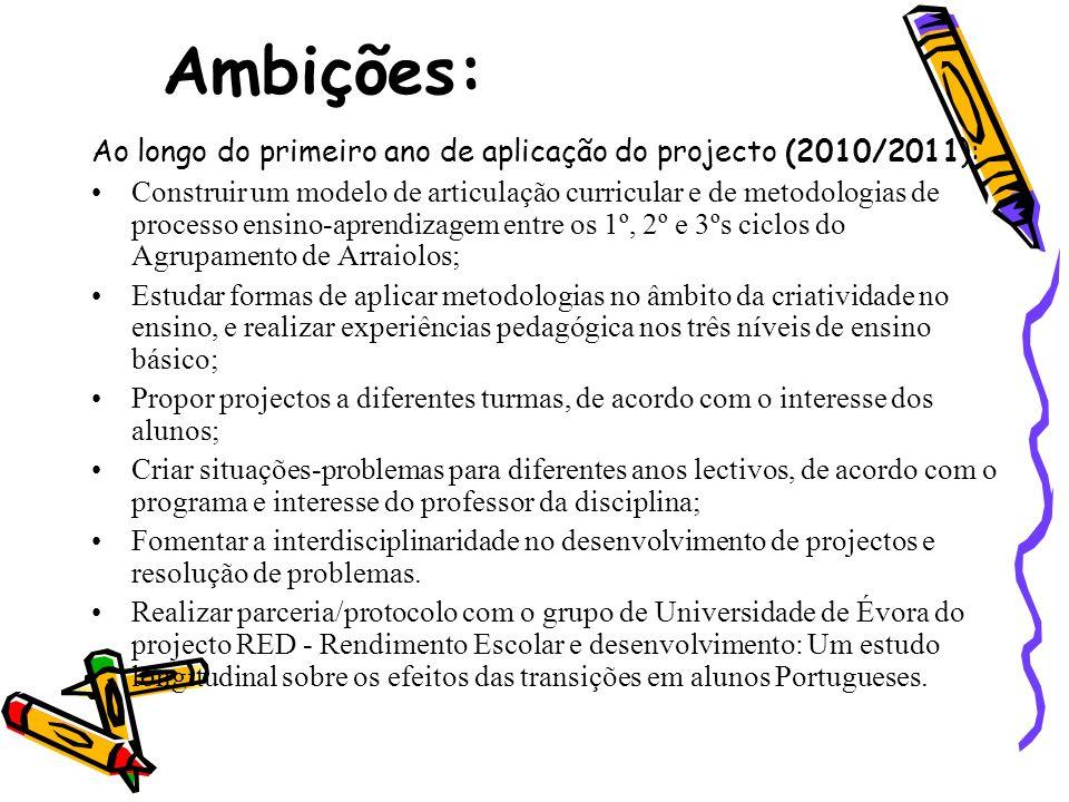 Ambições: Ao longo do primeiro ano de aplicação do projecto (2010/2011): Construir um modelo de articulação curricular e de metodologias de processo e