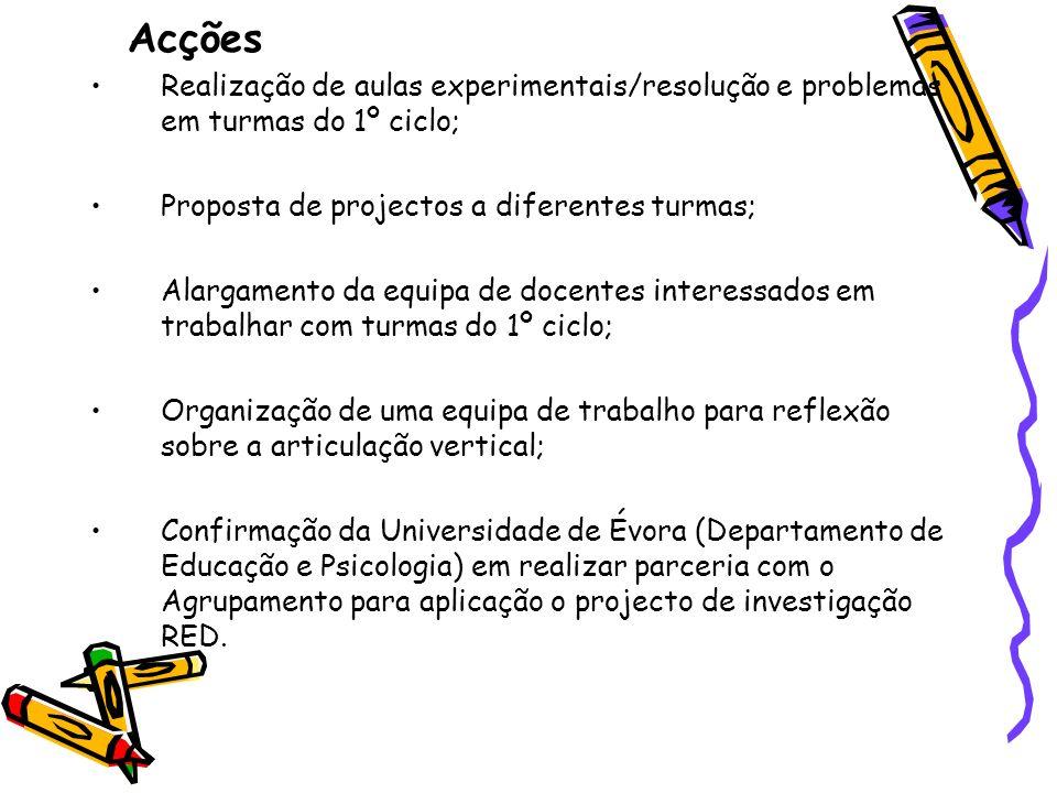 Acções Realização de aulas experimentais/resolução e problemas em turmas do 1º ciclo; Proposta de projectos a diferentes turmas; Alargamento da equipa
