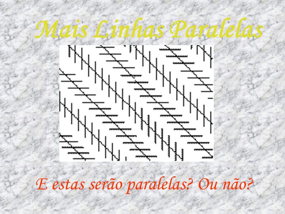 Resposta As duas linhas horizontais são paralelas, embora o desenho nos dê a ideia que as linhas efectuam uma curva.