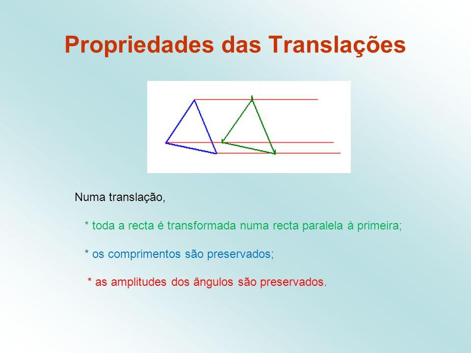 Propriedades das Translações Numa translação, * toda a recta é transformada numa recta paralela à primeira; * os comprimentos são preservados; * as amplitudes dos ângulos são preservados.