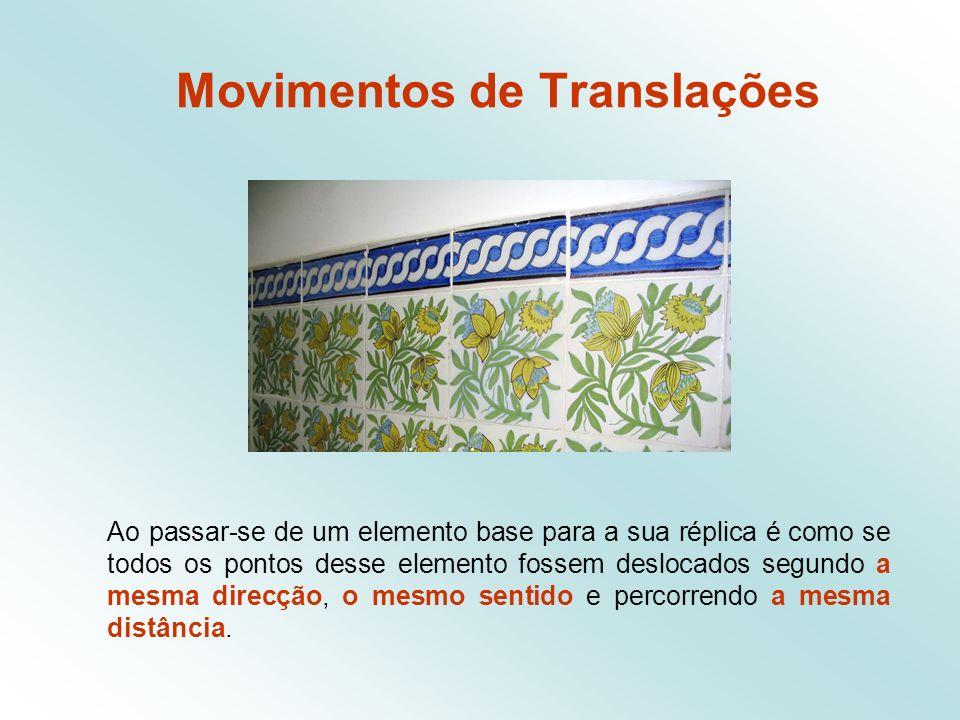 Movimentos de Translações Ao passar-se de um elemento base para a sua réplica é como se todos os pontos desse elemento fossem deslocados segundo a mesma direcção, o mesmo sentido e percorrendo a mesma distância.