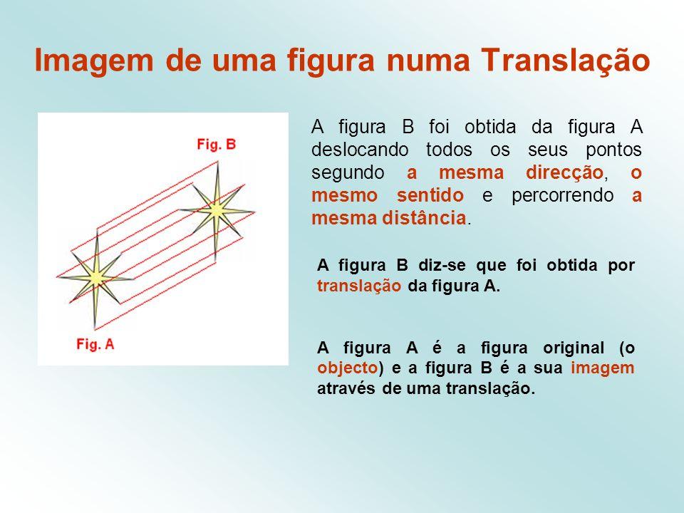 Translações * Uma translação transforma uma figura numa outra figura geometricamente igual.