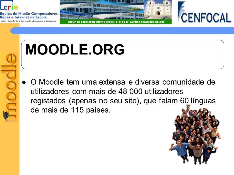 MOODLE.ORG O Moodle tem uma extensa e diversa comunidade de utilizadores com mais de 48 000 utilizadores registados (apenas no seu site), que falam 60