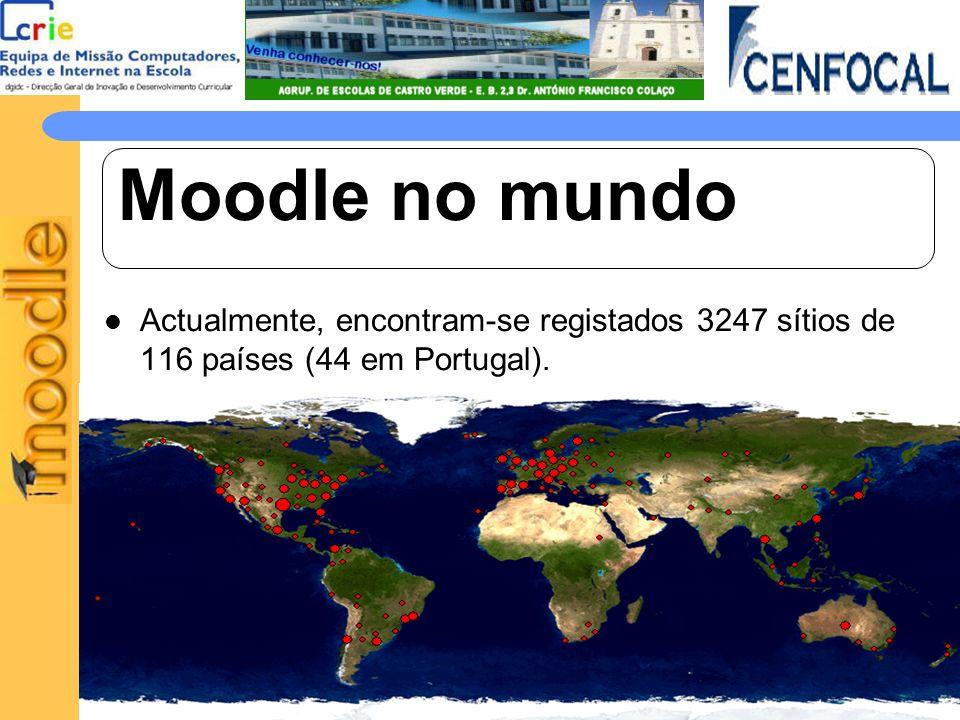 Moodle no mundo Actualmente, encontram-se registados 3247 sítios de 116 países (44 em Portugal).