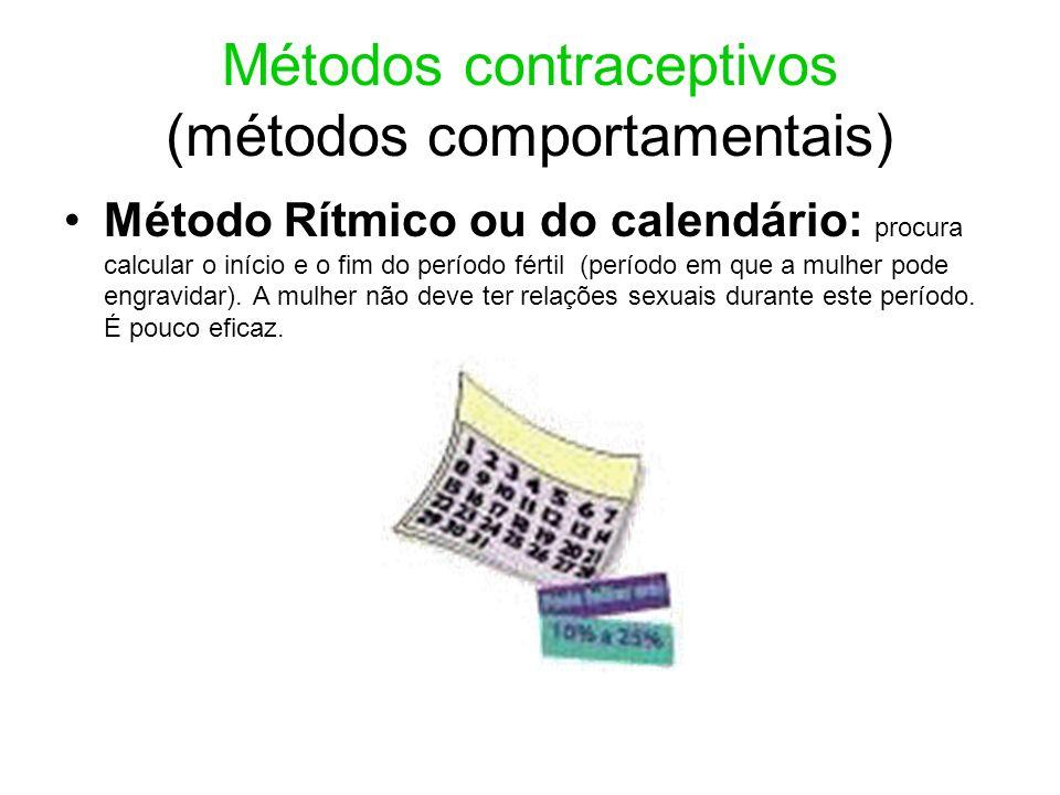 Métodos contraceptivos (métodos comportamentais) Método Rítmico ou do calendário: procura calcular o início e o fim do período fértil (período em que