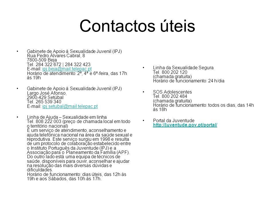 Contactos úteis Gabinete de Apoio à Sexualidade Juvenil (IPJ) Rua Pedro Álvares Cabral, 8 7800-509 Beja Tel. 284 322 672 | 284 322 423 E-mail: ipj.bej