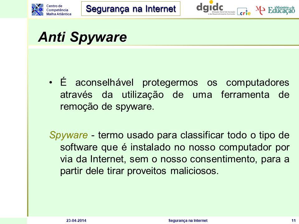 Centro de Competência Malha Atlântica Segurança na Internet 23-04-2014Segurança na Internet11 Anti Spyware Anti Spyware É aconselhável protegermos os