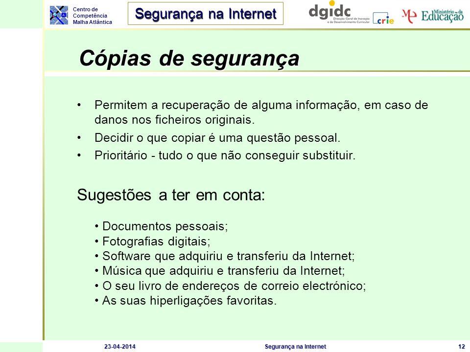 Centro de Competência Malha Atlântica Segurança na Internet 23-04-2014Segurança na Internet12 Cópias de segurança Cópias de segurança Permitem a recup