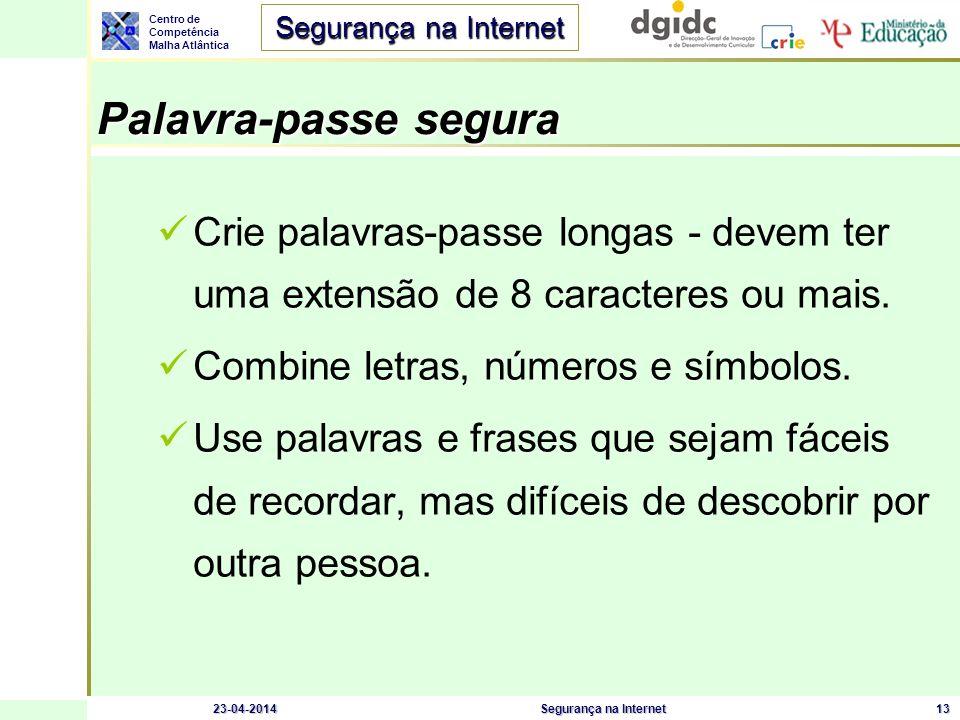 Centro de Competência Malha Atlântica Segurança na Internet 23-04-2014Segurança na Internet14 Estratégias a evitar Sequências ou caracteres repetidos: 12345678, 222222, abcdefg, .