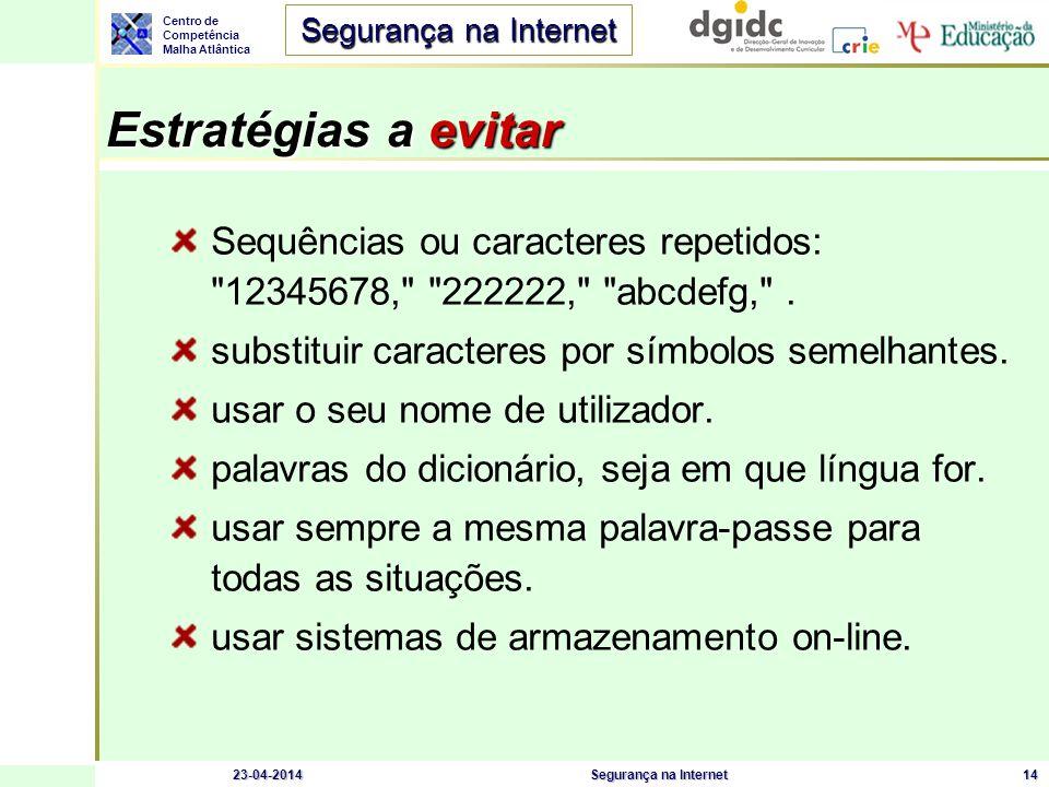 Centro de Competência Malha Atlântica Segurança na Internet 23-04-2014Segurança na Internet14 Estratégias a evitar Sequências ou caracteres repetidos: