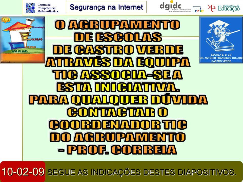 Centro de Competência Malha Atlântica Segurança na Internet 23-04-2014Segurança na Internet2 SEGUE AS INDICAÇÕES DESTES DIAPOSITIVOS. 10-02-09