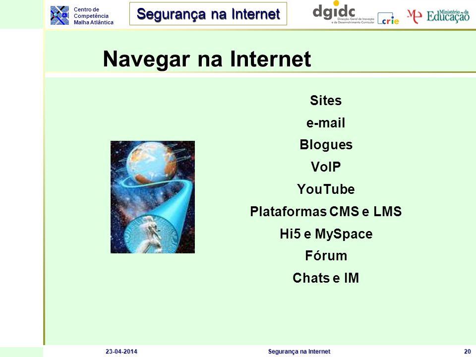 Centro de Competência Malha Atlântica Segurança na Internet 23-04-2014Segurança na Internet20 Navegar na Internet Sites e-mail Blogues VoIP YouTube Pl