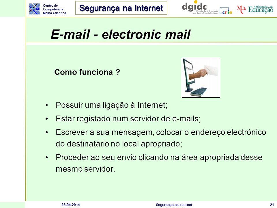 Centro de Competência Malha Atlântica Segurança na Internet 23-04-2014Segurança na Internet22 E-mail – Cuidados a ter Ter software antivírus activo e actualizado; Não abrir mensagens que avisam de perigos (reais?); Não correr programas de origem desconhecida; Não enviar informação confidencial por e-mail; Usar uma firewall pessoal; Desligar as opções de execução de JavaScript, ActiveX ou programas Java; Se possível, desligar o modo de visualização de e-mails em formato html.