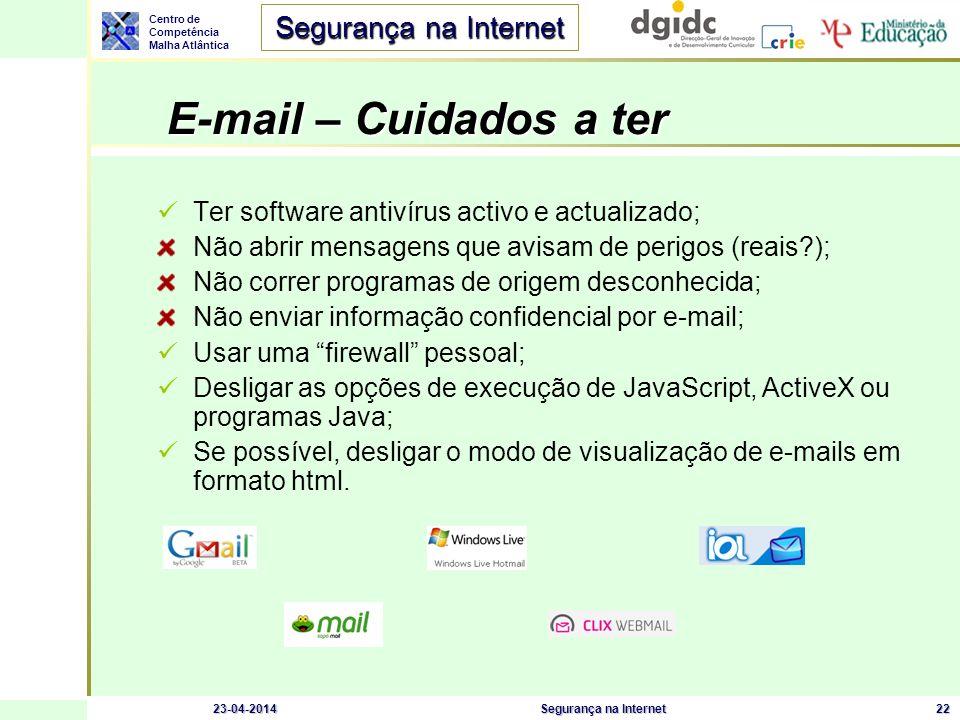 Centro de Competência Malha Atlântica Segurança na Internet 23-04-2014Segurança na Internet22 E-mail – Cuidados a ter Ter software antivírus activo e