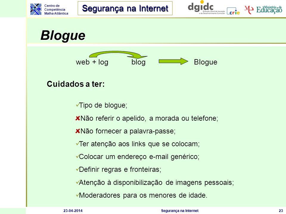 Centro de Competência Malha Atlântica Segurança na Internet 23-04-2014Segurança na Internet23 Blogue Blogue web + log blog Blogue Cuidados a ter: Tipo