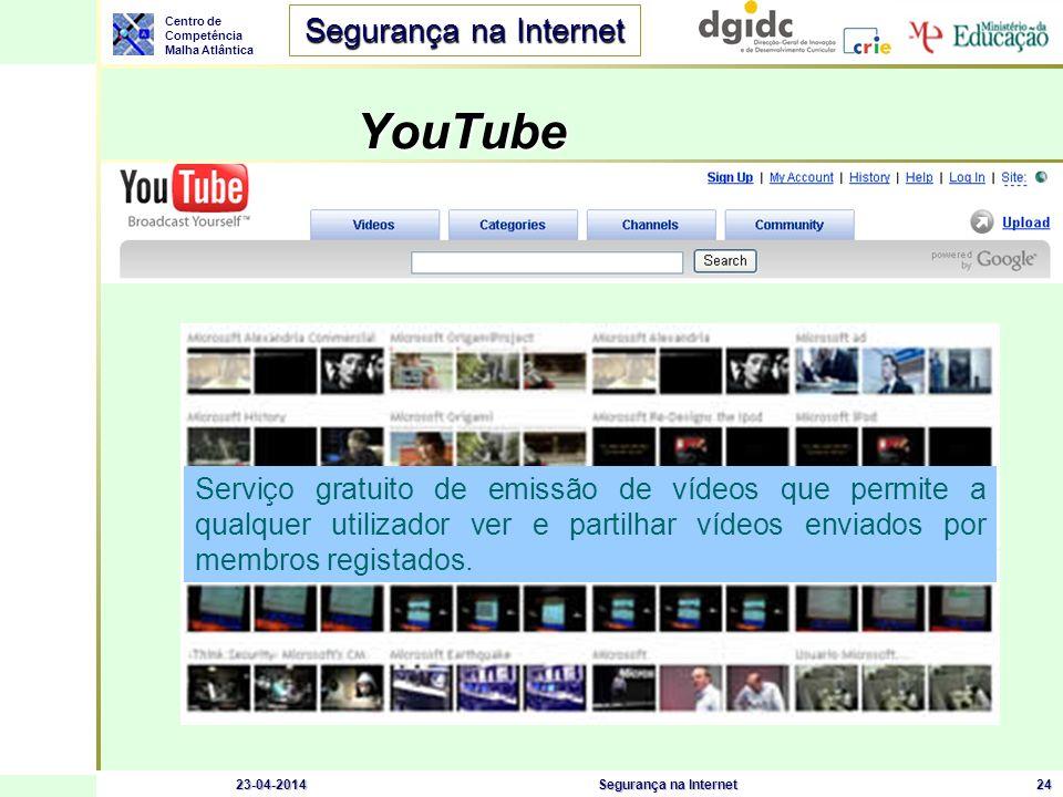 Centro de Competência Malha Atlântica Segurança na Internet 23-04-2014Segurança na Internet24 YouTube Serviço gratuito de emissão de vídeos que permit