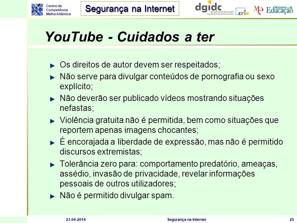 Centro de Competência Malha Atlântica Segurança na Internet 23-04-2014Segurança na Internet25 YouTube - Cuidados a ter Os direitos de autor devem ser