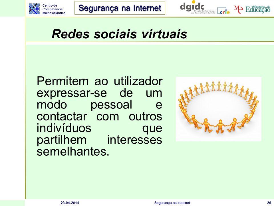 Centro de Competência Malha Atlântica Segurança na Internet 23-04-2014Segurança na Internet26 Redes sociais virtuais Permitem ao utilizador expressar-