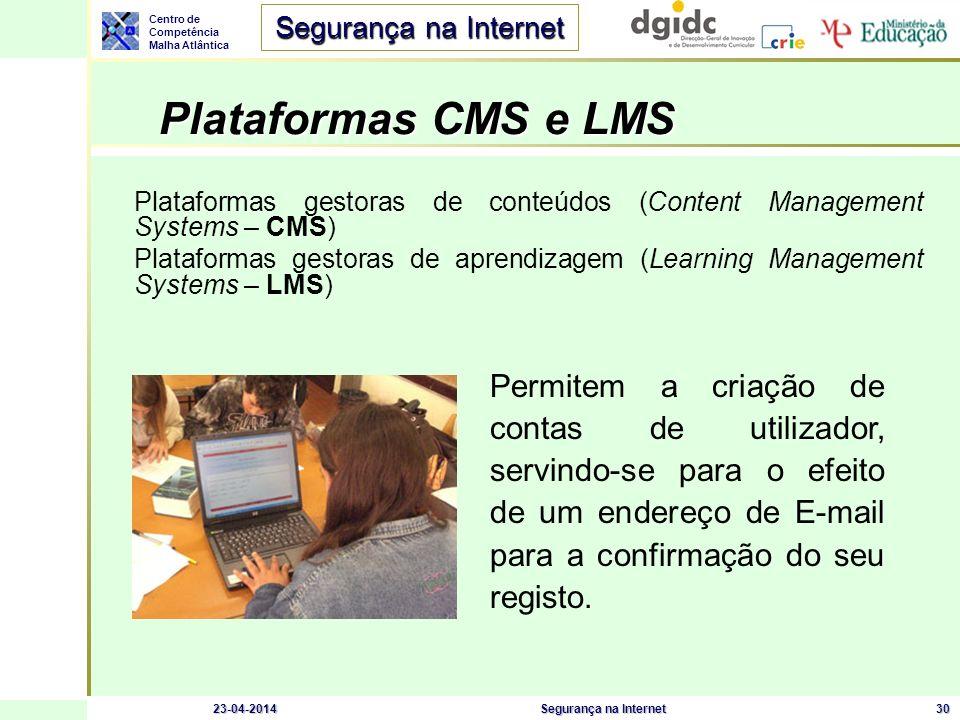 Centro de Competência Malha Atlântica Segurança na Internet 23-04-2014Segurança na Internet30 Plataformas CMS e LMS Plataformas gestoras de conteúdos