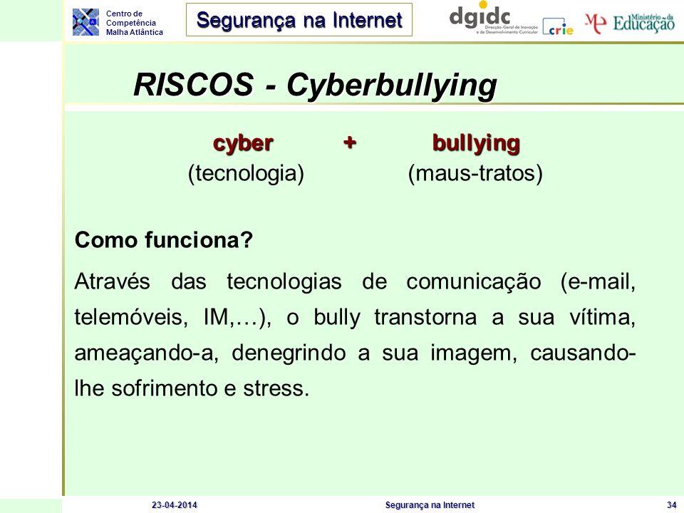 Centro de Competência Malha Atlântica Segurança na Internet 23-04-2014Segurança na Internet34 RISCOS - Cyberbullying RISCOS - Cyberbullying cyber + bu