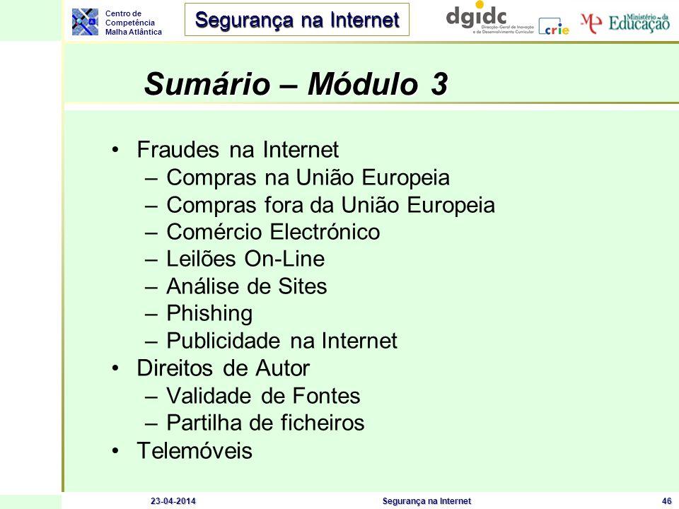 Centro de Competência Malha Atlântica Segurança na Internet 23-04-2014Segurança na Internet46 Sumário – Módulo 3 Fraudes na Internet –Compras na União
