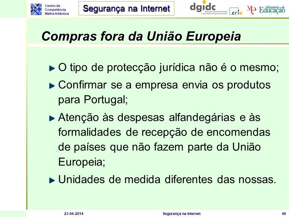 Centro de Competência Malha Atlântica Segurança na Internet 23-04-2014Segurança na Internet48 Compras fora da União Europeia O tipo de protecção juríd