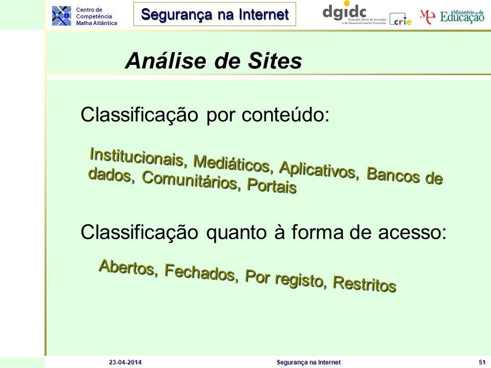 Centro de Competência Malha Atlântica Segurança na Internet 23-04-2014Segurança na Internet51 Análise de Sites Classificação por conteúdo: Classificaç
