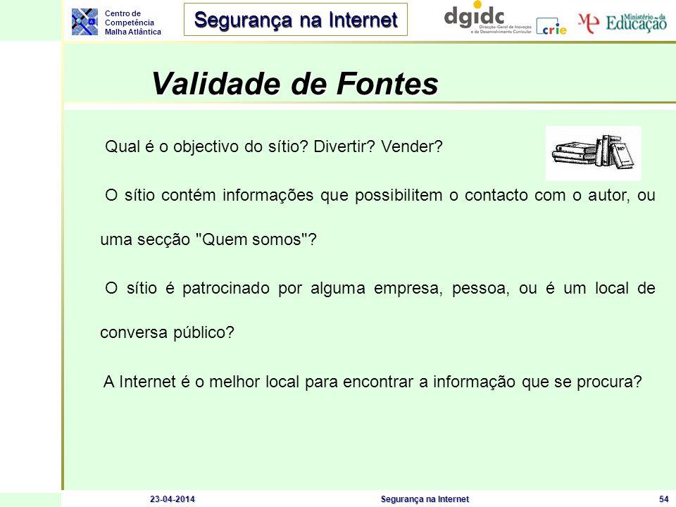 Centro de Competência Malha Atlântica Segurança na Internet 23-04-2014Segurança na Internet54 Validade de Fontes Qual é o objectivo do sítio? Divertir