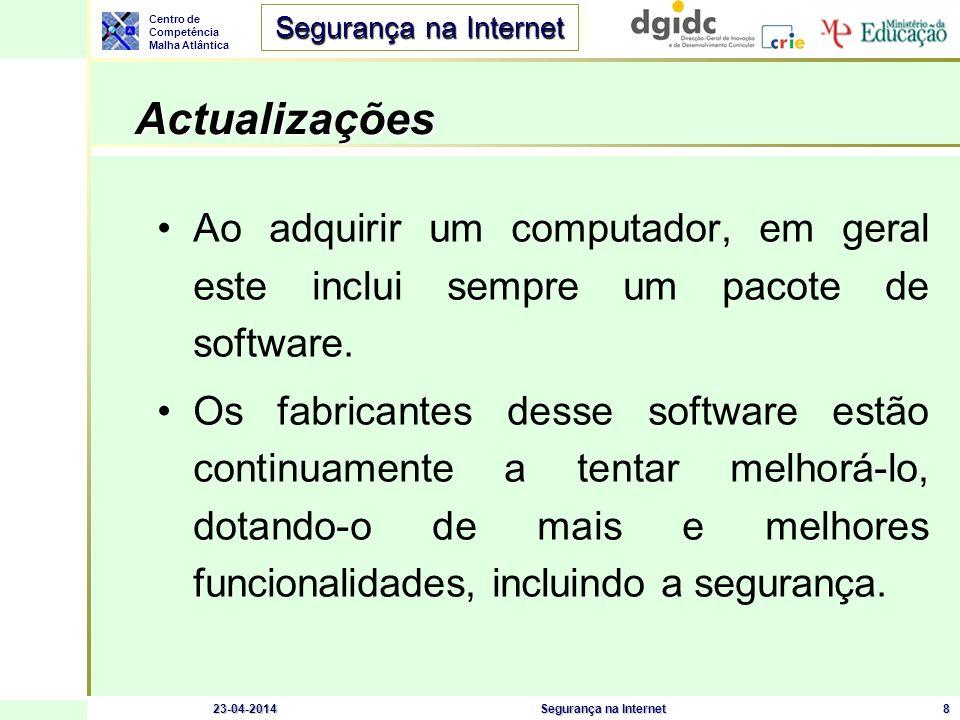 Centro de Competência Malha Atlântica Segurança na Internet 23-04-2014Segurança na Internet8 Actualizações Actualizações Ao adquirir um computador, em