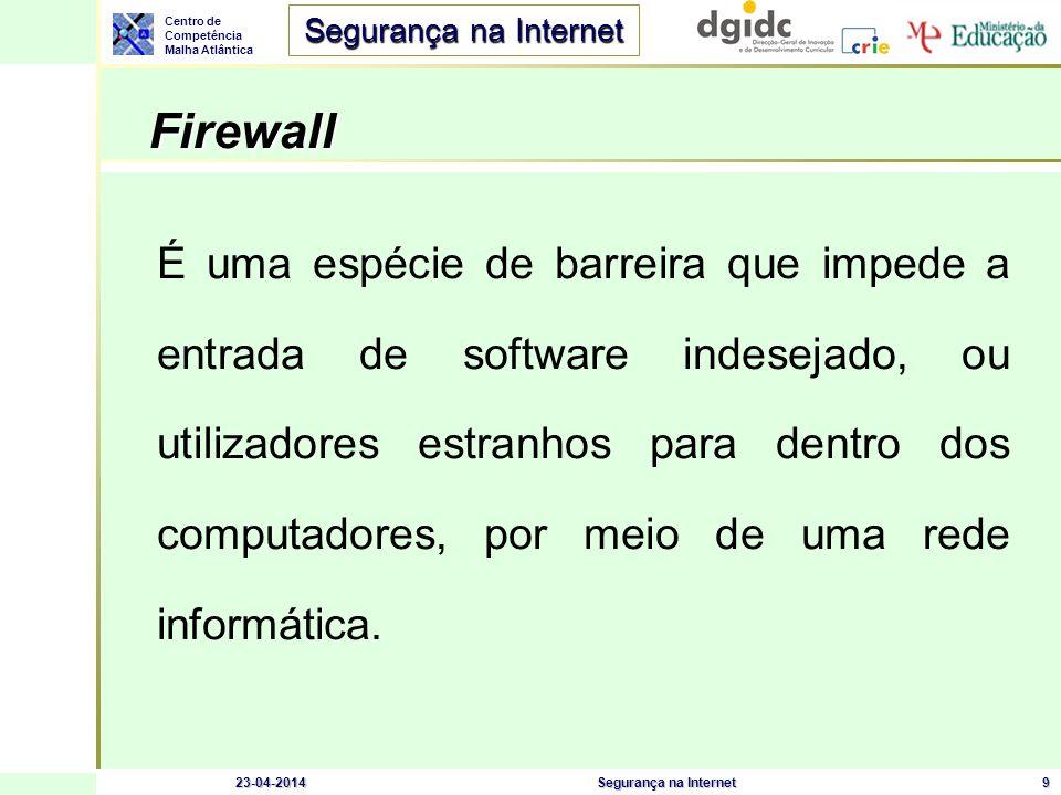 Centro de Competência Malha Atlântica Segurança na Internet 23-04-2014Segurança na Internet9 Firewall Firewall É uma espécie de barreira que impede a