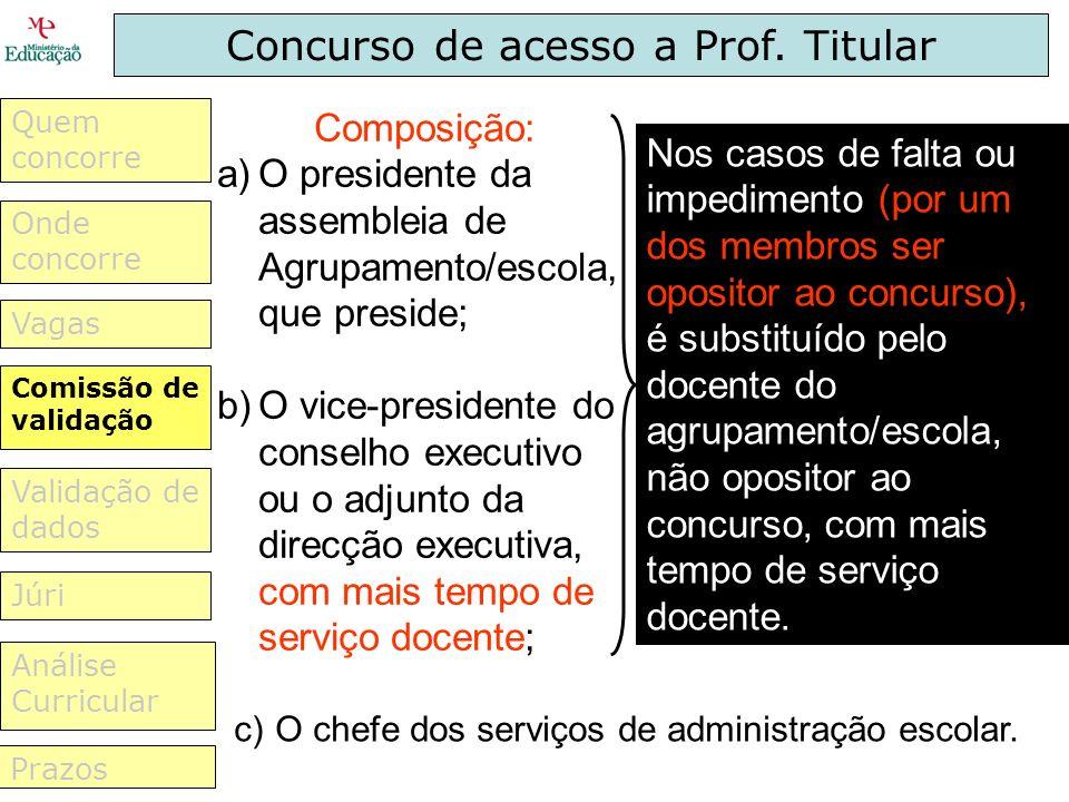 Concurso de acesso a Prof. Titular Composição: a)O presidente da assembleia de Agrupamento/escola, que preside; b)O vice-presidente do conselho execut