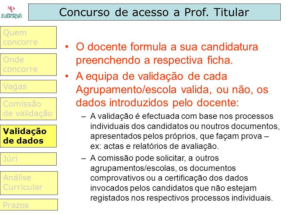Concurso de acesso a Prof. Titular O docente formula a sua candidatura preenchendo a respectiva ficha. A equipa de validação de cada Agrupamento/escol