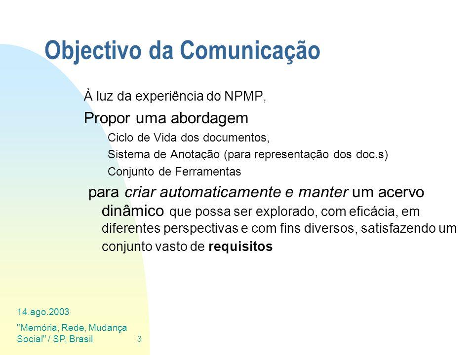 14.ago.2003 Memória, Rede, Mudança Social / SP, Brasil 44 Plano da Comunicação Contexto de trabalho Requisitos Funcionais dum Museu Virtual Ciclo de Vida dos Documentos (HV) Anotação das HV em XML Ferramentas de Suporte
