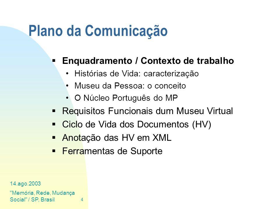 14.ago.2003 Memória, Rede, Mudança Social / SP, Brasil 45 Ferramentas de Suporte Cada uma das fases do Ciclo de Vida dos Depoimentos tem de ser suportada por ferramentas informáticas que agilizem a sua execução.