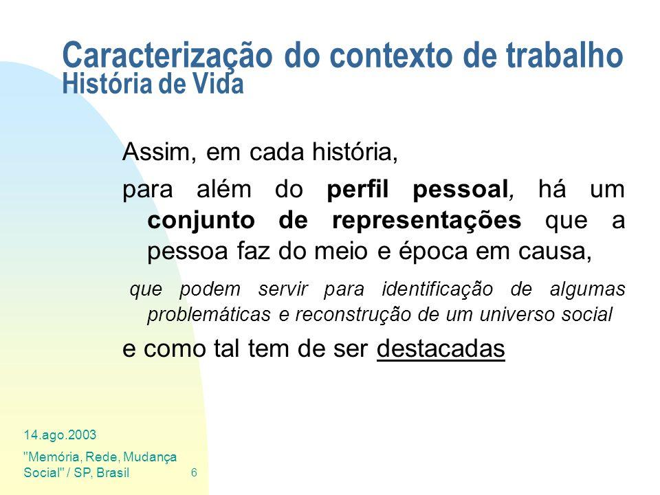 14.ago.2003 Memória, Rede, Mudança Social / SP, Brasil 27 Ciclo de Vida dos Documentos (tratamento das HV) Arquivo resultante: Ficha de Identificação da HV (XML) História de Vida original História de Vida editada (XML) Mini-Biografia (XML) Fotos e Anexos (JPEG + XML) Som indexado (MP3 + XML) Vídeo (AVI + XML)
