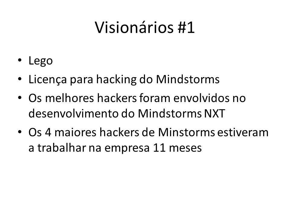 Visionários #1 Lego Licença para hacking do Mindstorms Os melhores hackers foram envolvidos no desenvolvimento do Mindstorms NXT Os 4 maiores hackers