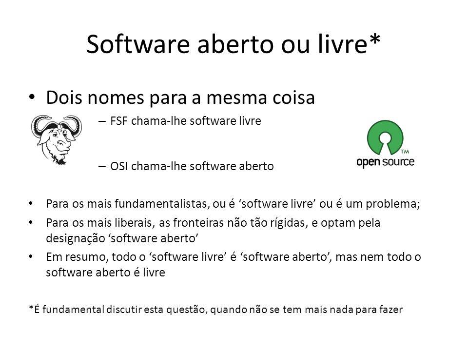 Software aberto ou livre* Dois nomes para a mesma coisa – FSF chama-lhe software livre – OSI chama-lhe software aberto Para os mais fundamentalistas,