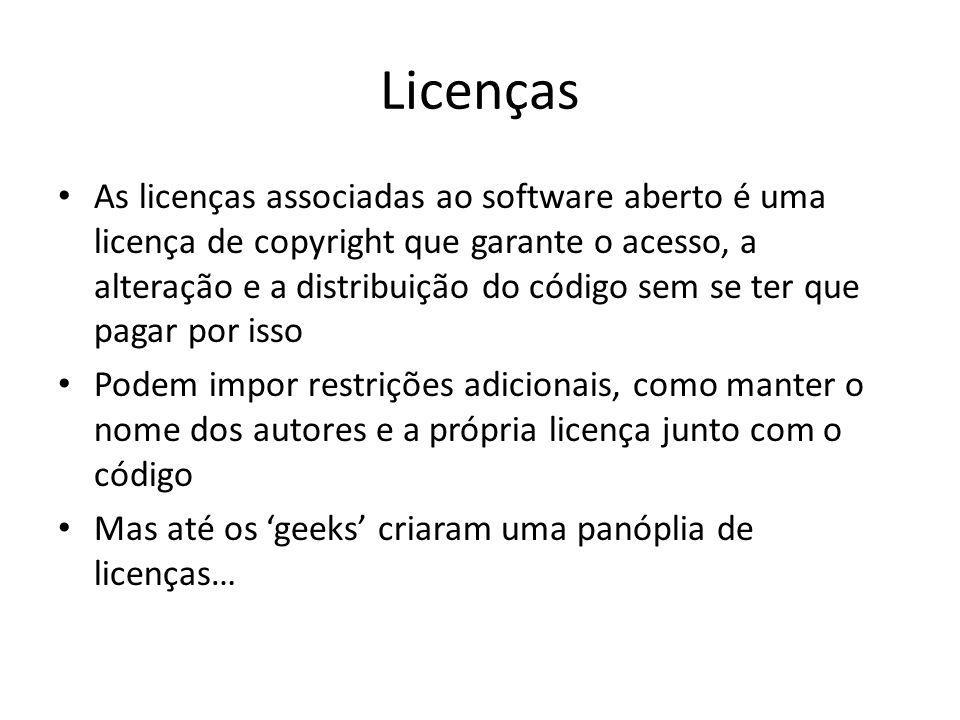 Licenças As licenças associadas ao software aberto é uma licença de copyright que garante o acesso, a alteração e a distribuição do código sem se ter
