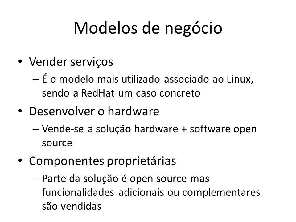 Modelos de negócio Vender serviços – É o modelo mais utilizado associado ao Linux, sendo a RedHat um caso concreto Desenvolver o hardware – Vende-se a
