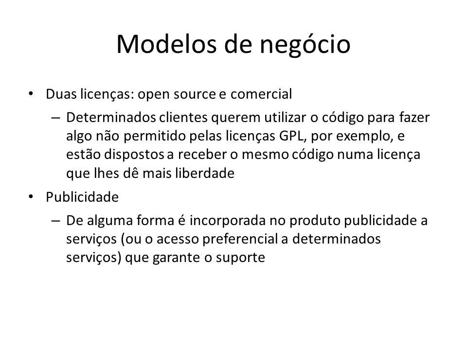 Modelos de negócio Duas licenças: open source e comercial – Determinados clientes querem utilizar o código para fazer algo não permitido pelas licença