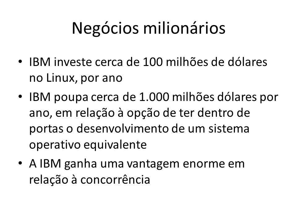 Negócios milionários IBM investe cerca de 100 milhões de dólares no Linux, por ano IBM poupa cerca de 1.000 milhões dólares por ano, em relação à opçã