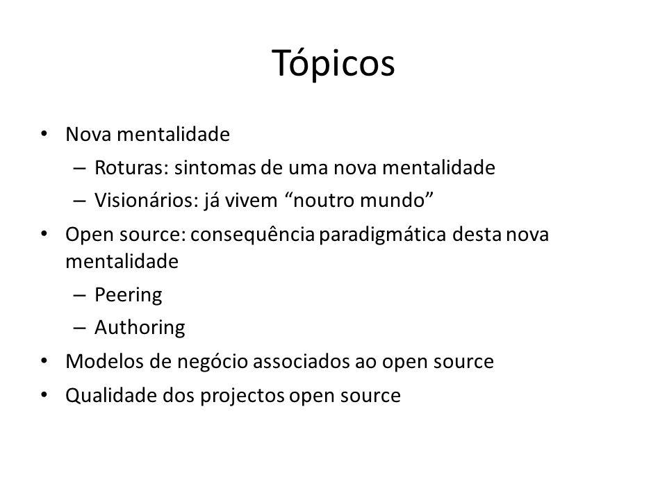 Tópicos Nova mentalidade – Roturas: sintomas de uma nova mentalidade – Visionários: já vivem noutro mundo Open source: consequência paradigmática dest