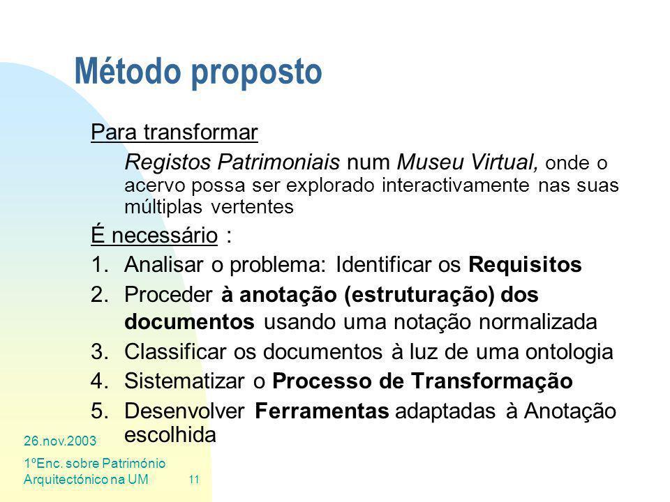 26.nov.2003 1ºEnc. sobre Património Arquitectónico na UM 11 Método proposto Para transformar Registos Patrimoniais num Museu Virtual, onde o acervo po