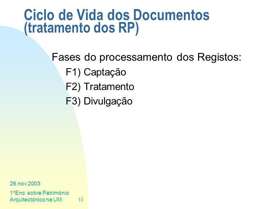 26.nov.2003 1ºEnc. sobre Património Arquitectónico na UM 15 Ciclo de Vida dos Documentos (tratamento dos RP) Fases do processamento dos Registos: F1)