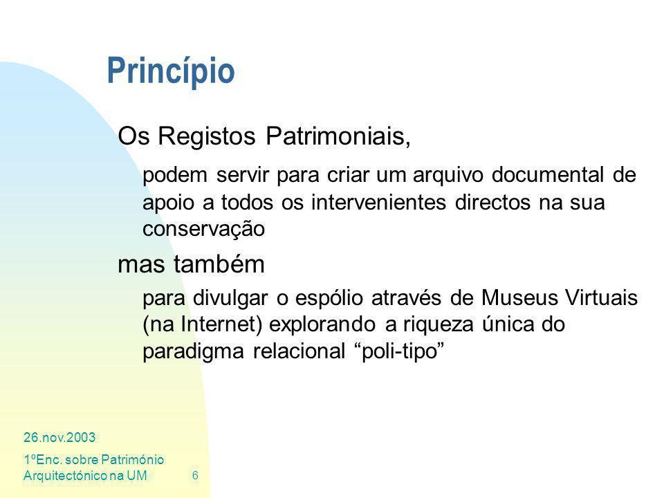 26.nov.2003 1ºEnc. sobre Património Arquitectónico na UM 6 Princípio Os Registos Patrimoniais, podem servir para criar um arquivo documental de apoio