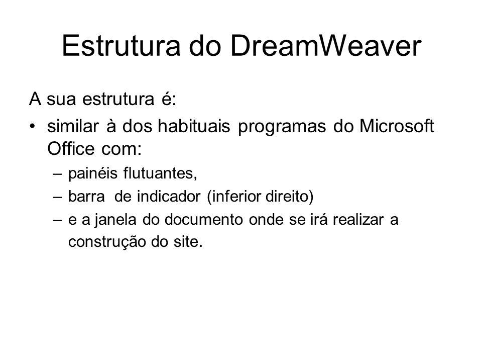 Estrutura do DreamWeaver A sua estrutura é: similar à dos habituais programas do Microsoft Office com: –painéis flutuantes, –barra de indicador (inferior direito) –e a janela do documento onde se irá realizar a construção do site.