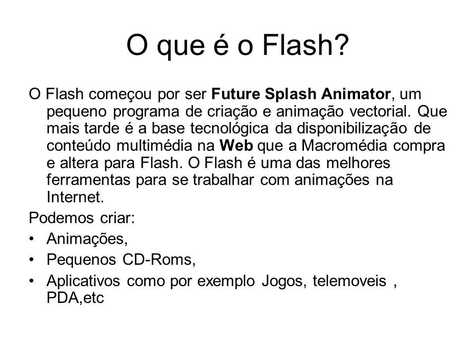 O que é o Flash? O Flash começou por ser Future Splash Animator, um pequeno programa de criação e animação vectorial. Que mais tarde é a base tecnológ