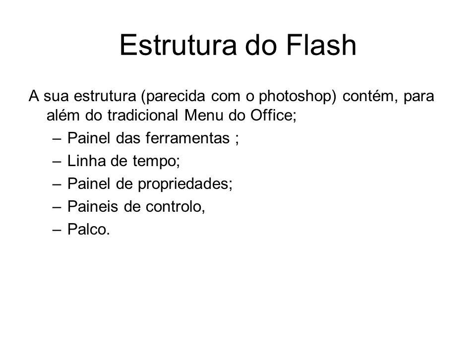 Estrutura do Flash A sua estrutura (parecida com o photoshop) contém, para além do tradicional Menu do Office; –Painel das ferramentas ; –Linha de tem