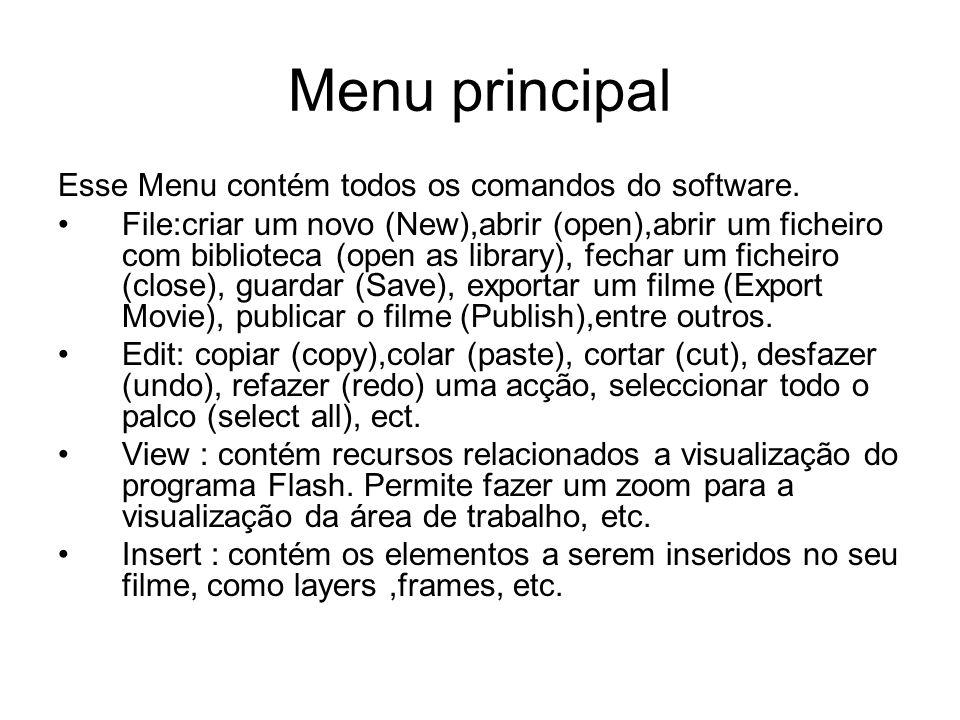 Menu principal Esse Menu contém todos os comandos do software. File:criar um novo (New),abrir (open),abrir um ficheiro com biblioteca (open as library